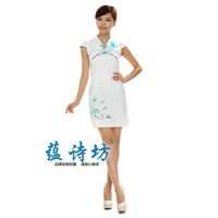 Chinese style embroidered color block bubble cap sleeve of improved cheongsam fashion 2014 elegant cheongsam one-piece dress