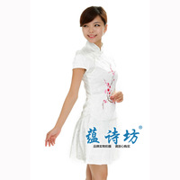 2014 vintage cheongsam fashion stand collar embroidered handmade chain chinese style top pleated skirt cheongsam set