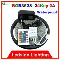 LED RGB white blue green red yellow waterproof aquarium strip 24Key 5m 300 LEDS tape diode 3528 SMD DC12V 60 led/m 16.4ft rope