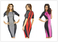 Free shipping + Lowest price New Sexy Panel Body-shaping Colorblock Midi Dress LC6268
