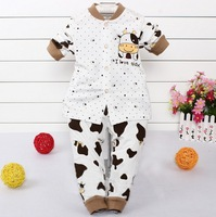 2014 New Autumn Winter Baby Lovely Animal Cows Nightwear Cotton pjs sets kids pajama sets girls boys clothes free shipping