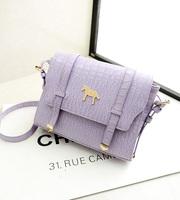 2014 double shoulder bag crocodile pattern fashion handbag women's small fresh cross-body bag