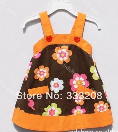 stock hot sale new designs baby girl dress orange dress fashion dress baby clothes free shipping 5pcs/lot(China (Mainland))