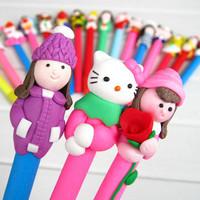 10PCS/LOT Wholesale supply Lovely soft pottery pen handmade Stationery, South Korea  /FREE SHIPPING