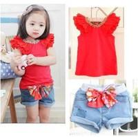 Retail 1set summer 2014  Baby girls clothing set  Fire red cotton vest +denim shorts  clothing suits 2pcs ST049