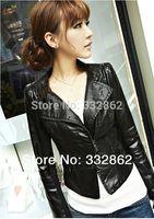 SOPHY / 2014 spring new female short paragraph Slim PU leather jacket