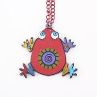 2 pcs/ lot new item multi-color frog acrylic pendants necklace for women 2014 new spring summer fashion jewelry for women girl