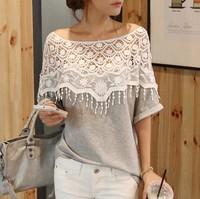 2014 sweet lace cutout shirt women handmade crochet cape collar batwing sleeve blouse medium-long t shirt