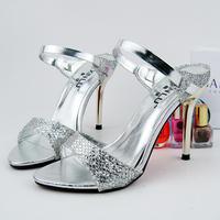 Serpentine pattern open toe open toe high-heeled sandals paillette female shoes