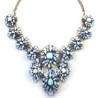 New Arrival ZA Brand Layers Multi-color Crystal Rhinestone Gem Beads Flower Bib Necklace Womens Statement Choker Collar