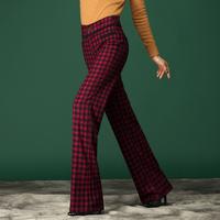 elegant women's 2014 fashion new brand slim casual long high waist bell-bottom ol plaid red trousers
