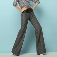 2014 Womens Trousers Elastic Waist Brand Woolen And Leather Women's Clothing Pants Plus Size  Casual Long Trousers