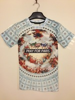 Free Shipping Fashion Animal Print 3D T Tshirt 3D Print Pray For Paris Print Tshirt Man T043