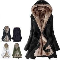 F2042 New 2014 autumn -summer winter jacket women faux fur lining women's fur Hoodies long  coats cotton clothes thermal parkas
