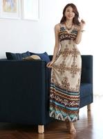 2014 new spring summer lady fashion Bohemian beach clothing one piece dress, sleeveless V neck evening dress