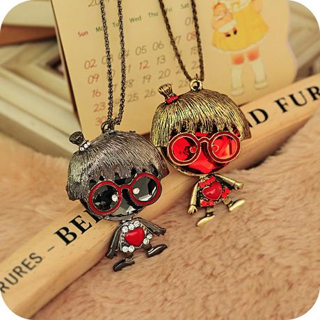 5pcs wholesale lot accessories fashion vintage big gem love necklace female B0132