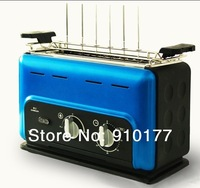 portable stainless steel vertical smokeless electric meat mini grill machine home indoor,with bbq accessory, blue  035