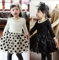 Hot sale! 2014 cute spring autumn dot lace children girls party dress kids dresses