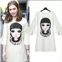 PDL8201  Free Shipping Women New 2014 Spring Fashion Loose Big Size Trumpet sleeves Cute Cartoon Pattern Dress