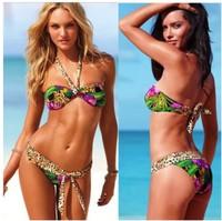 Free Shipping Beauty Women Favor Padded Boho Fringe Top Strapless Bikini set Sexy Swimsuit 1set(Top+Bottom) Swimwear Floral