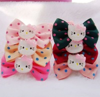 Free Shipping Fashion Lovely Kids Ribbon Bows with KT Cats Elastic Hair Bands/Hair Accessories/Girls Princess Headwear Hair Rope