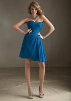 2014 A-line Sweetheart Sleeveless Royal Blue Chiffon Short Mini Pleated Short Bridesmaid Dresses