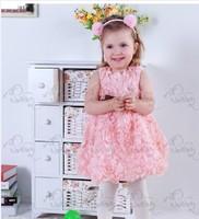 Gorgeous girls princess dress/Fancy girls party dress/2014 hot selling rosette girl dresses