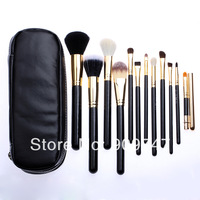 New 2014 Professional  Makeup Brush tools 12 PCs Brush Cosmetic Make Up Set With 2 Case Bag Kit, Free shipping