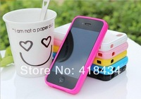 HOT SALE Simple Design Solid Candy Color Protective Back Cover Case For Iphone 4/4S (Assorted Colors) 300pcs DHL free ship