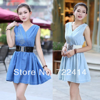 New 2014 Brand Newest Vintage Fashion Women's Denim Dress,Popular V Neck Ladies' jeans casual Dresses plus sizes,Free shipping
