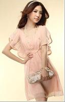 Free shipping cotton summer casual girl dress short sleeve bodycon princess dresses with belt Women Fashion Wear