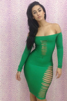 Free shipping!! New Sexy Green off Shoulder Slits Bodycon Dress LC21065