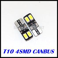 Wholesale Super Bright 10pcs/Lot Canbus T10 4smd 5630 5730 LED car Light + Canbus NO OBC ERROR White 12v