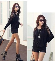 AW2014 Korean version of Hitz lace stitching bat sleeve T-shirt women's loose big yards long sleeve shirt bottomingS-XL