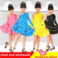 Child Latin Dance Costume Dance Performance Latin Dance Skirt Children's Dancewear retail and wholesale Free Shipping