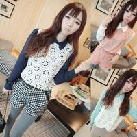 Free shipping 2014 spring women's peter pan collar long-sleeve shirt slim all-match young girl casual shirt