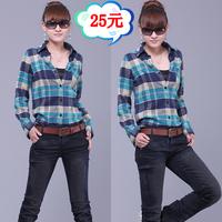 2014 spring thickening casual plaid shirt female long-sleeve shirt slim women's shirt plus size  Free shipping