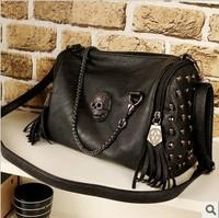 Fashion 2013 skull bag rivet tassel motorcycle bag cross-body bag black portable women's handbag  Free shipping