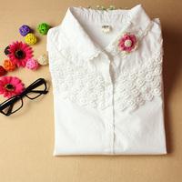 Spring sweet peter pan collar lace decoration women's long-sleeve shirt 100% cotton shirt  Free shipping