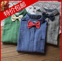 Free shipping 2014 vintage bow fashion plaid shirt female long-sleeve shirt
