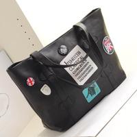 2013 women's handbag the trend of fashion black messenger bag big bag one shoulder handbag women's bags  Free shipping