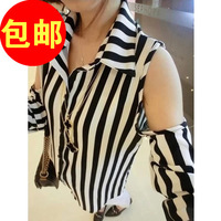 Small 2014 spring sexy strapless all-match vintage shirt stripe black and white polka dot pattern shirt  Free shipping