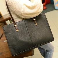 2014 bag brief black casual big bag handbag fashion vintage bag faux leather women's handbag  Free shipping