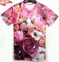 (YNM)3D MALL 2014 New Fashion women men Beautiful pink flowers  roses print 3D T shirts Casual Street Cool Galaxy t-shirts tops
