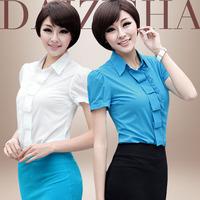 New 2014 Korean womens summer short-sleeved body shirt flounced chiffon Lace tops ladies work wear shirts blouses femininas