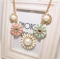 2014 New Fashion Shourouk Crystal Rhinestone Pearl Flower Gold Chain Bib Statement Necklaces & Pendants Women Jewelry Gift