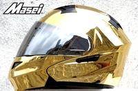 EMS Free Shipping Masei 815 Gold Chrome Modular Flip-Up Motorcycle Helmet L Gold
