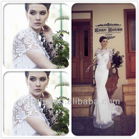 New Arrival CW2052 Unique hollowed-out bodice tassels short sleeve vintage lace high neck sexy mermaid wedding dresses