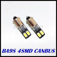 Free shipping 100pcs BA9S CANBUS 4SMD 5630 5730 LED car Interior Bulbs Wedge Lamp Car Indicators Light