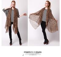 2014 Fashion Female Scarves Leopard Chiffon Scarf Women Georgette Silk Like Leopard Good Quality Shawl Free Shipping Wrap